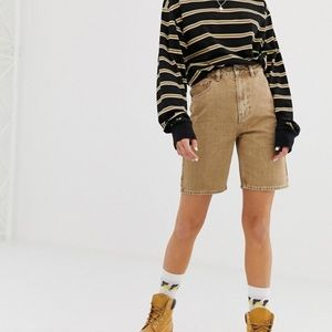 COLLUSION long line denim shorts in sand